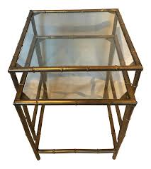 metal bamboo nesting tables  pair  chairish