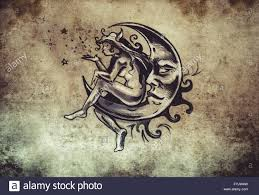 Fairy Sitting On The Moon Tattoo Sketch Handmade Design Over Stock