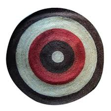 white and red and black hand woven jute round rugs