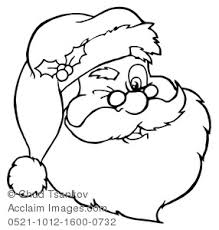 Clipart Illustration Of Christmas Coloring Page Of A Winking Santa Claus