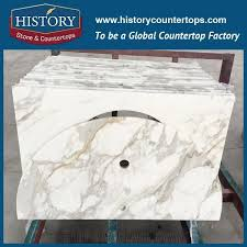 history stone hmj154 calacatta white eased edge custom made special order polished smooth surface solid marble countertops bathroom vanity tops for hotel