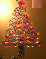 Photo : Christmas Tree Made Of Lights On Wall Images