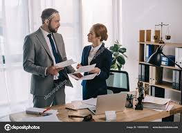 suits office. Lawyers Suits Working Together Project Workplace Gavel Laptop Office \u2014 Stock Photo