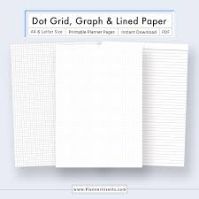 Dot Grid Paper Graph Paper Lined Paper For Unlimited Instant Download Digital Printable Planner Inserts In Pdf Format A4 Letter Size