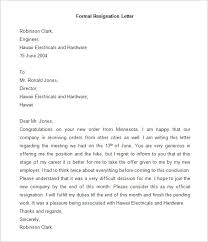 resignation letter template      free word  pdf documents    sample of formal resignation letter