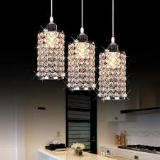image of modern crystal chrome chandelier pendant light with crystal beaded drum shade