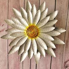 giant silver yellow sunflower metal