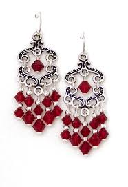 03 04 776 siam red crystal chandelier earrings fancy keepsake