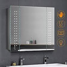 quavikey led illuminated bathroom mirror cabinet with lights and shaver socket full demister pad 650