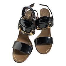 patent leather sandals gucci black size