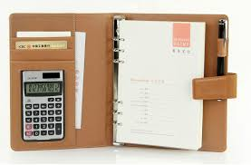 Trip Planner Calculator A5 Faux Leather Refillable Loose Leaf Notebook Travel