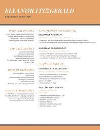 Modern Executive Assistant Resume Orange Professional Executive Assistant Resume Templates