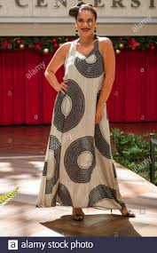 Hawaiian Dress Designers Female Model Wearing Apparel By Hawaiian Fashion Designer