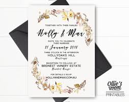 Wedding Invitation Downloads Personalised Country Rustic Floral Wedding Invitation