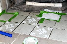 paint concrete tiles get the cement tile look for less with paint and a stencil get the full painting outdoor concrete tiles can you paint concrete floor