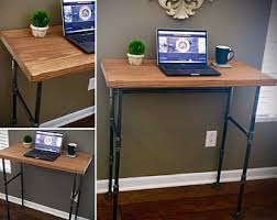 custom standing desk kidney shaped mid. Industrial SEATED Or STANDING DESK Iron Pipe \u0026 Solid Wood Freestanding Hall / Sofa Table Laptop Custom Standing Desk Kidney Shaped Mid