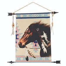 linen wall hanging indian pony aztec print wv 06