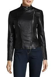 asymmetrical zip moto leather jacket vince camuto