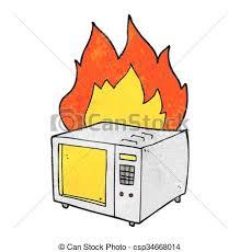 microwave clipart. vector - textured cartoon microwave on fire clipart
