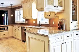 Kitchen With Granite Interior Of Modern Luxury Kitchen With Granite Countertop Stock
