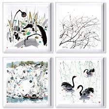 <b>Modern Abstract</b> Canvas Paintings Black White <b>Chinese</b> Ink ...