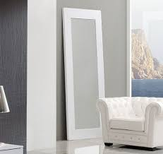 Coco Spain Made Standing Floor Mirror in White Crocodile Leather