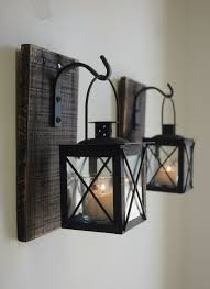 Black Lantern Pair (2) with wrought iron hooks on recycled wood board for  unique wall decor, home decor, bedroom decor