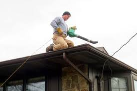 Man on roof cleaning gutters Best Gutter Cleaning Tools   LoveToKnow