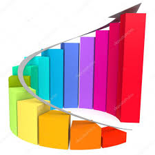 Colorful Winding Bar Chart With White Arrow Stock Photo