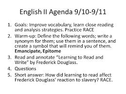 pre ap english ii agenda ppt english ii agenda 9 10 9 11 goals improve vocabulary learn