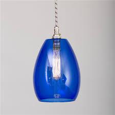 blue coloured glass pendant light