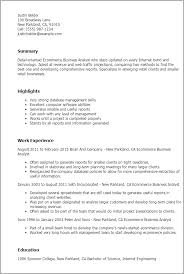 Resume Templates: Ecommerce Business Analyst