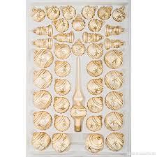 39 Tlg Glas Weihnachtskugeln Set In Ice Champagner Gold