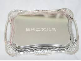 Decorative Metal Serving Trays Stainless steel rectangle serving tray metal plate dish for wedding 6