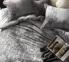 baroque stitch king duvet cover oversized king xl alloy pewter embroidery