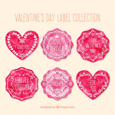 watercolor valentines day labels collection premium vector