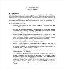 Personnel Management Job Description 9 Office Manager Job Description Templates Free Sample