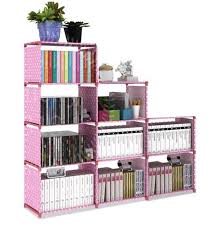 high quality 9 cube diy book shelf dotted pink