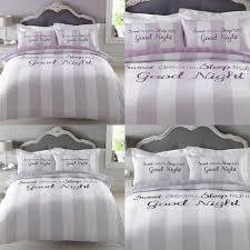 dreamscene sweet dreams duvet cover with pillowcase stripe bedding set grey