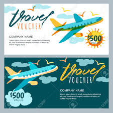travel voucher template free vector gift travel voucher template multicolor flying airplane