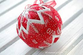Red and Silver Christmas Ornament - Quilted Ball &  Adamdwight.com