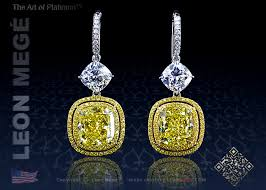 fancy yellow diamonds in micro pave chandelier earrings by leon mege
