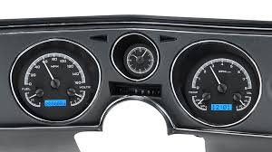 1969 chevy chevelle el camino vhx instruments black alloy background blue lighting shown oem dash trim bezel facia