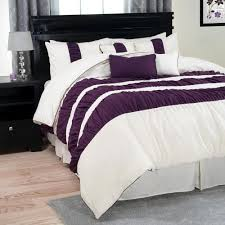 trademark global prisca royal 7 piece purple striped king comforter set