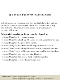 Top 8 shuttle bus driver resume samples In this file, you can ref resume  materials ...