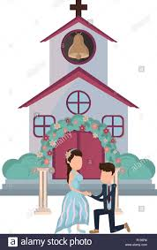 Front Church Design Wedding Couple Husband Proposing Marriage In Front Church