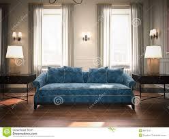 Klassieke Woonkamer Met Blauwe Bank Het 3d Teruggeven Stock