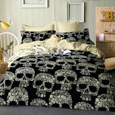 skull obsession bedding set beige white twin