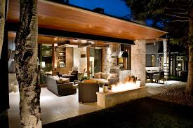 outdoor fire pit ideas Patio Contemporary with covered patio