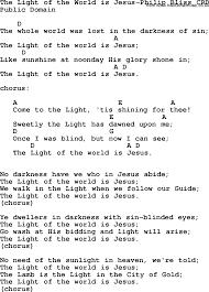 The Light Of The World Is Jesus Lyrics Gospel Song The Light Of The World Is Jesus Philip Bliss